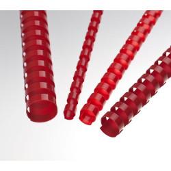 Anneaux plastiques 21 Boucles 14 mm Rouge